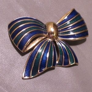 Vintage Blue and Green Enameled Bow Brooch